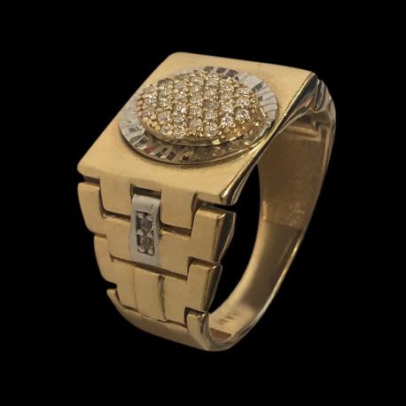14k gold men's ring with cubic zirconia