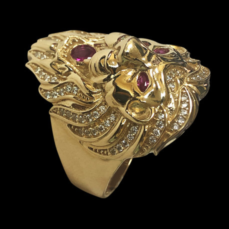14k gold men's ring with red stone and cubic zirconia