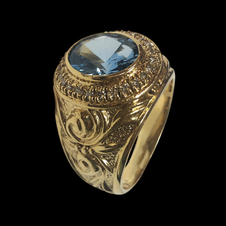 14k gold men's ring with blue stone