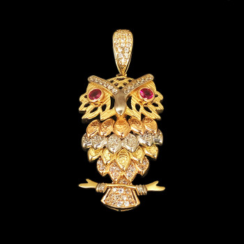 14k Yellow Gold Owl Charm