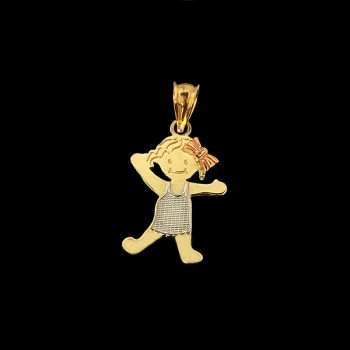 14k Yellow Gold Girl Charm