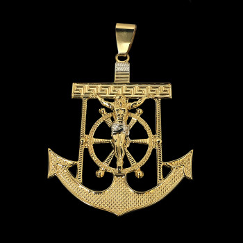 14k Yellow Gold Anchor with...