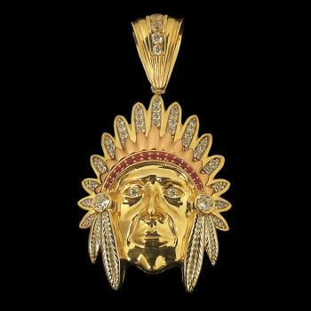 14k Yellow Gold Indian Face...