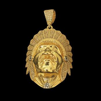 14k Yellow Gold Indian Face...