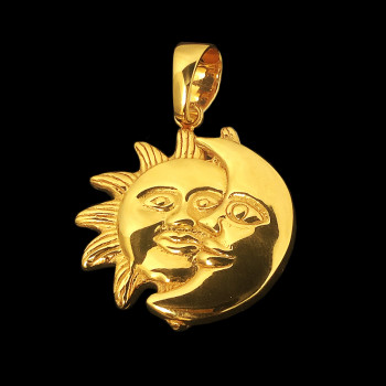 14k Yellow Gold Moon/Sun Charm