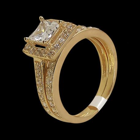 Juego de Matrimonio de oro 10k y Zirconia