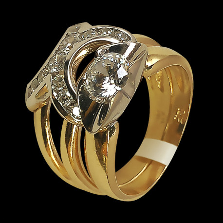 14k Yellow Gold and Cubic Zirconia Wedding Ring
