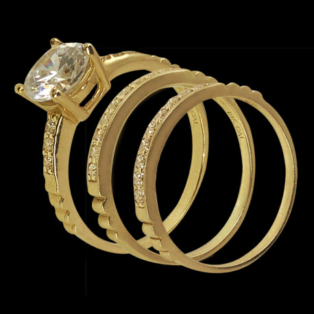 10k Yellow Gold and Cubic Zirconia Trio Wedding Ring