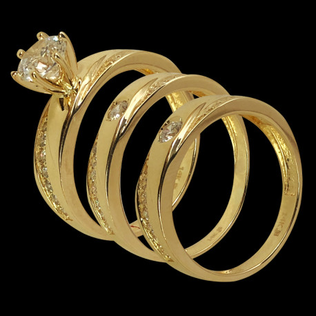 14k Yellow Gold and Cubic Zirconia Trio Wedding Ring
