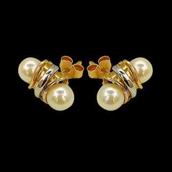 Aretes de oro 18k y Perlas