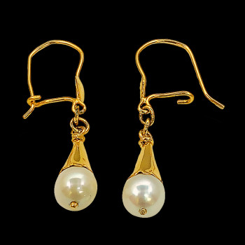 Aretes de oro 10k con perlas