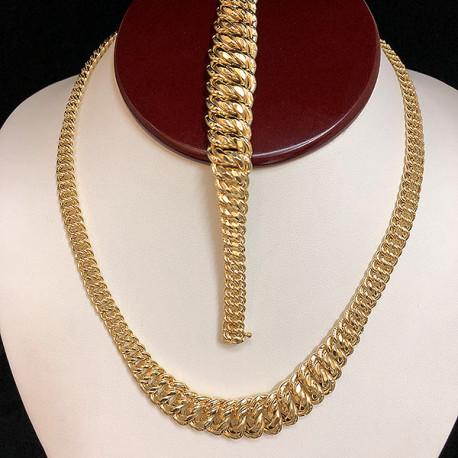 Combo 10K Gold Choker & Bracelet Princess cut