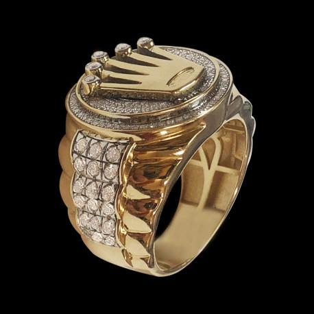 Anillo de hombre de oro 14k con Diamante
