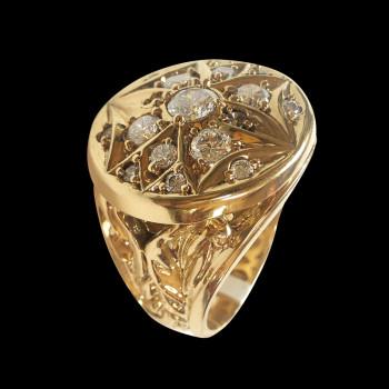14k gold men's rosette ring