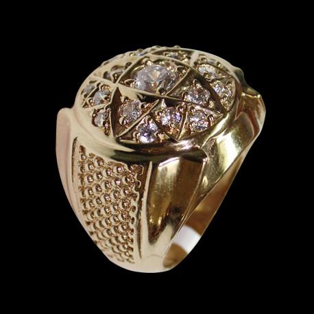 14k gold men's rosette ring with zirconia