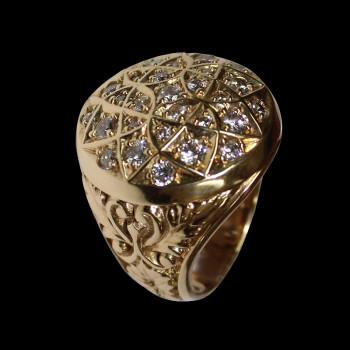 14k gold men's rosette ring...