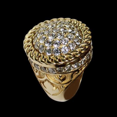 Anillo Roseta de hombre de oro 14k con zirconia