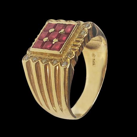 Anillo de hombre de oro 14k con rubis y diamantes