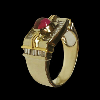 18k gold men's ring with...